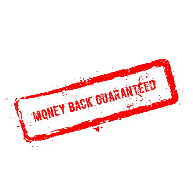 Money back guaranteed red rubber stamp isolated. Money back guaranteed red rubber stamp isolated on white background. Grunge rectangular seal with text, ink stock illustration