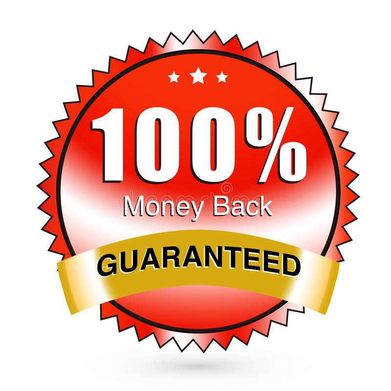 Money back. Guaranteed sticker with a nice red gradient stock illustration