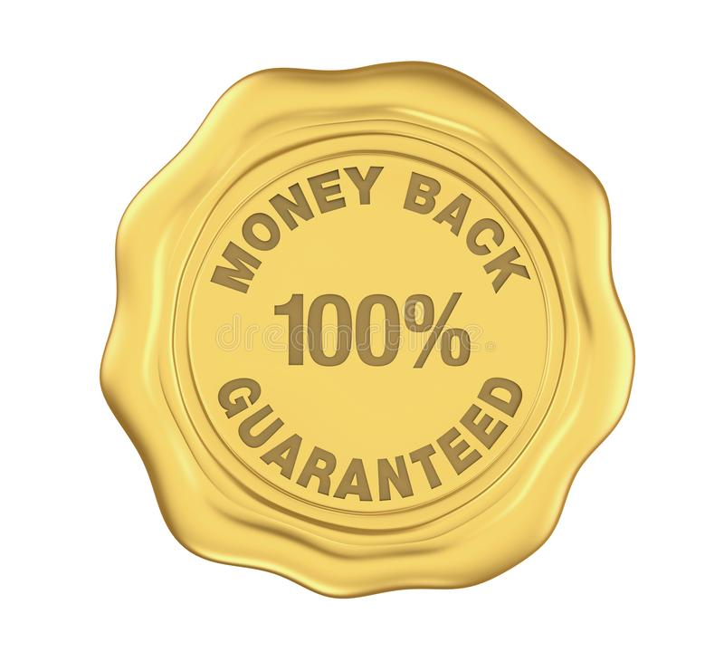 100% Money Back Guaranteed Wax Seal Isolated. On white background. 3D render vector illustration