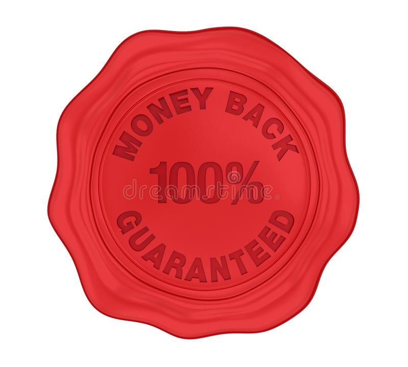 100% Money Back Guaranteed Wax Seal Isolated. On white background. 3D render royalty free illustration