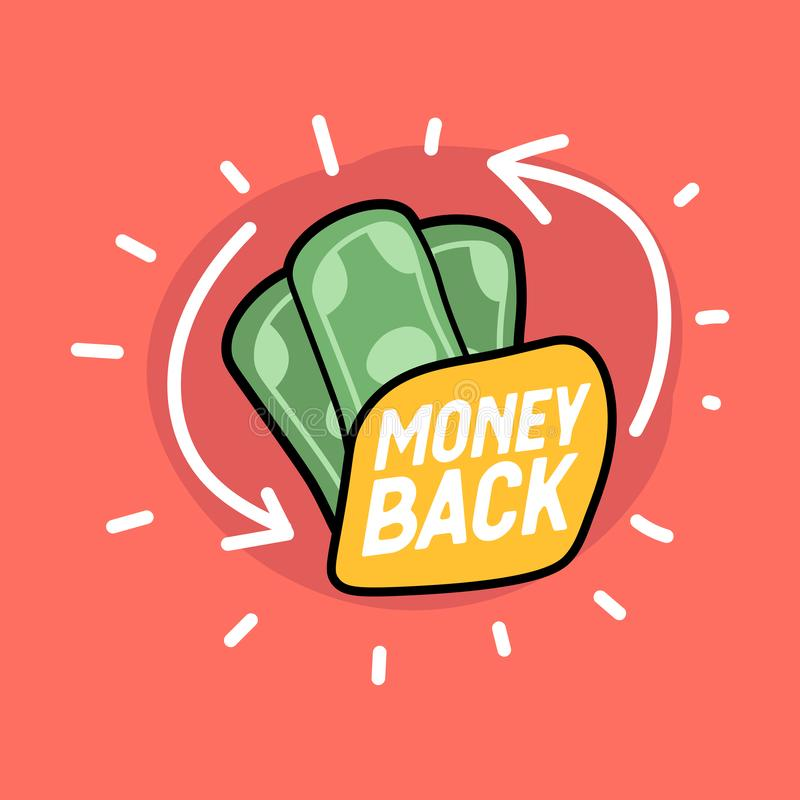 Money back hand drawn banknotes icon. Money back or money refund label. Vector illustration royalty free illustration