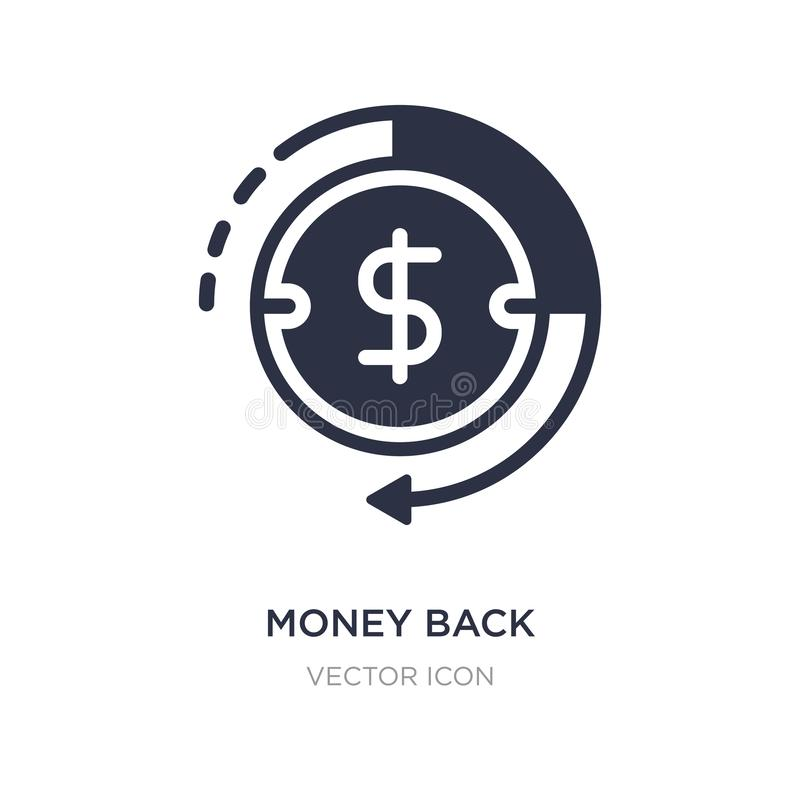 money back icon on white background. Simple element illustration from Business and finance concept royalty free illustration