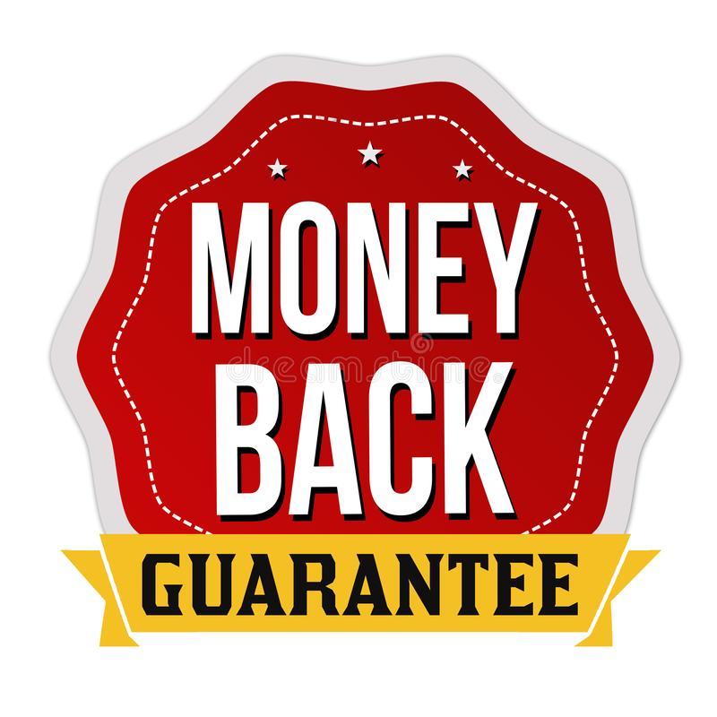 Money back label or sticker. On white background, vector illustration royalty free illustration