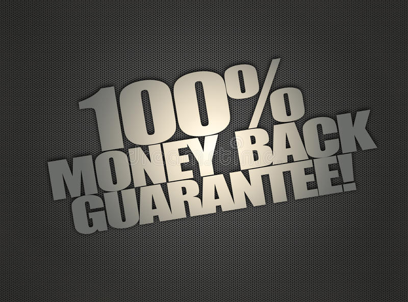 Money back message on metalic mesh background. Money back message on abstract metalic mesh background stock illustration