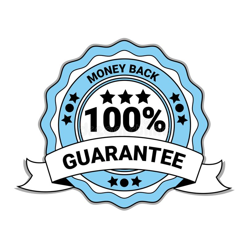Money Back With 100 Percent Guarantee Emblem Blue Medal With Ribbon Isolated royalty free illustration