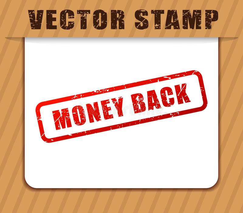 Money back red word buffered. Illustration of money back red word buffered stock illustration