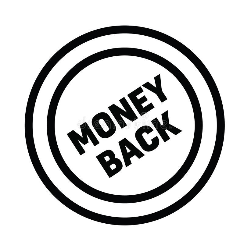 Money back rubber stamp. Black. Sign, label sticker vector illustration