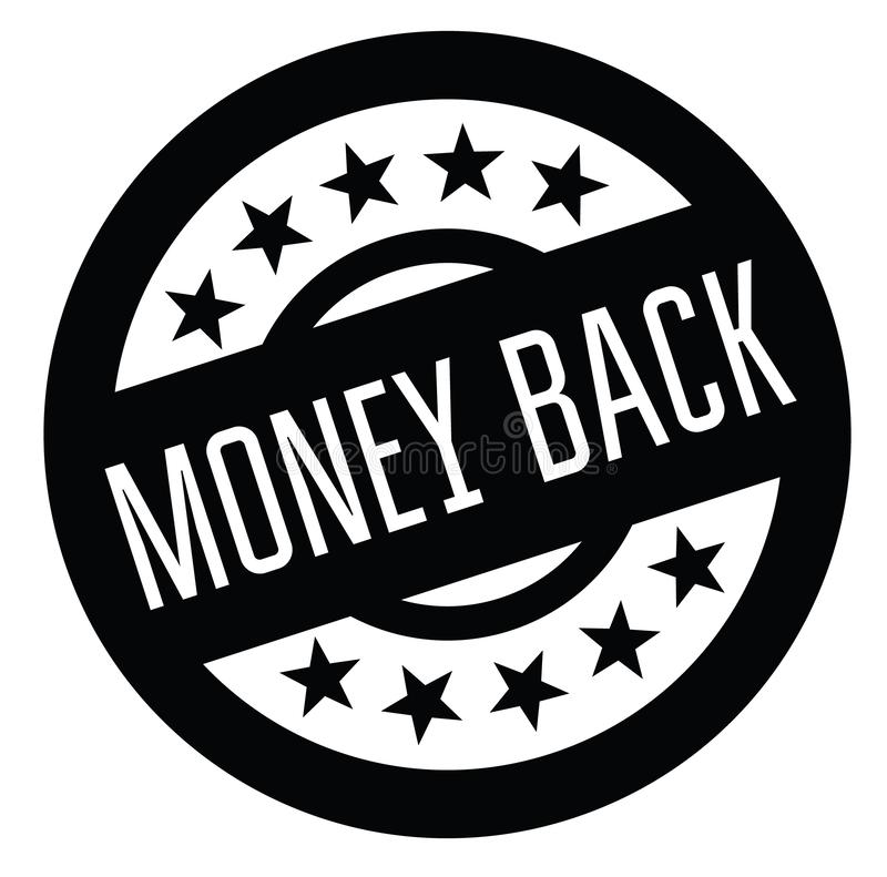 Money back rubber stamp. Black. Sign, label sticker stock illustration