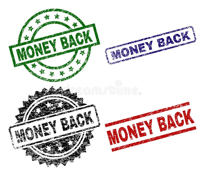 Scratched Textured MONEY BACK Seal Stamps royalty free illustration