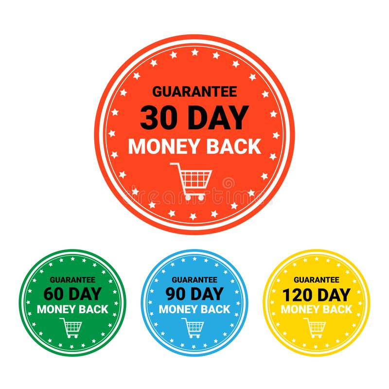 Money Back Set Of Badges Colorful Sign Template Label Isolated. Vector Illustration stock illustration