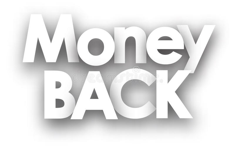Money back sign. In black and white. Vector illustration royalty free illustration