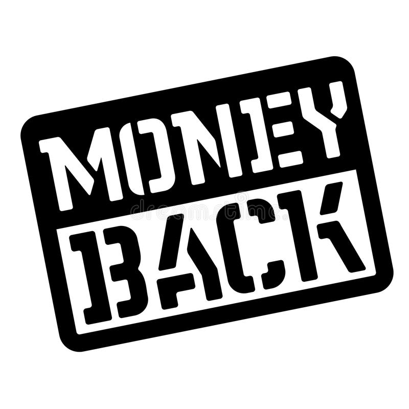 Money back stencil stamp. Rectangular bold sign, label stock illustration