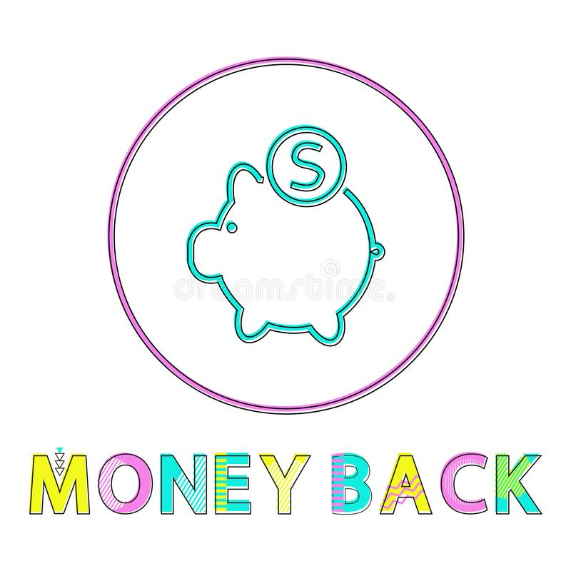 Money back vector icon in linear outline style. Money back vector illustration in linear outline style. Piggy bank with coin symbol, gadget concept and website royalty free illustration