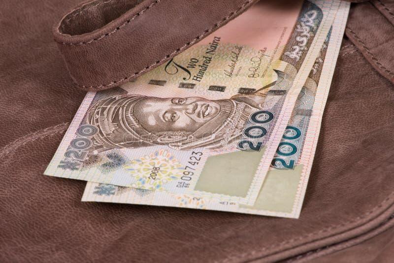 Money on bag royalty free stock photos
