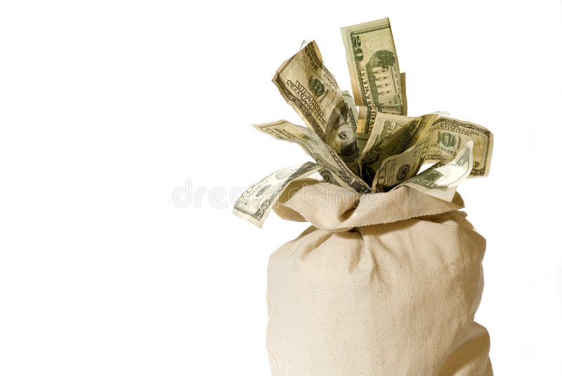 Money Bag!. Canvas Bank Bag Bursting with Cash. Horizontal w/negative space for copy or crop royalty free stock images