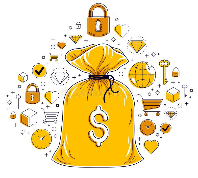 Free Money Bag And Icon Set Vector Design, Savings Or Investments Concept, Online Payments. Stock Photography - 165648102
