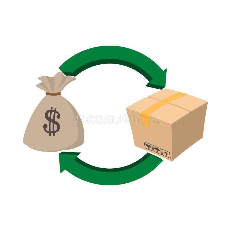Money bag and box icon, cartoon style. Money bag and box icon in cartoon style on a white background vector illustration