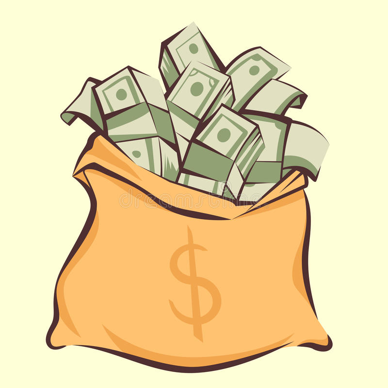 Money bag with bunches of dollars, cartoon style, isolated vector illustration stock illustration