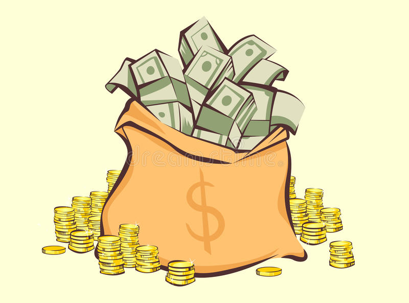 Money bag with bunches of dollars and coins stacks beside, cartoon style, isolated illustration.  vector illustration