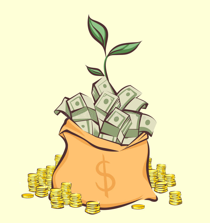 Money bag with bunches of dollars, coins stacks beside and money tree sprout, cartoon style, isolated vector illustration.  vector illustration