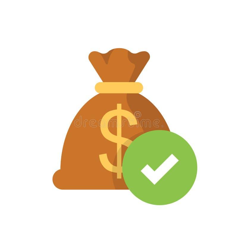 Money bag with check mark. Flat web icon isolated on white background. stock illustration
