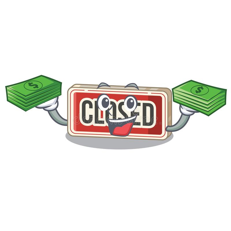 With money bag closed sign attached to cartoon door stock illustration