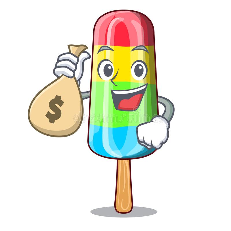 With money bag colorful ice cream sticks on cartoon royalty free illustration