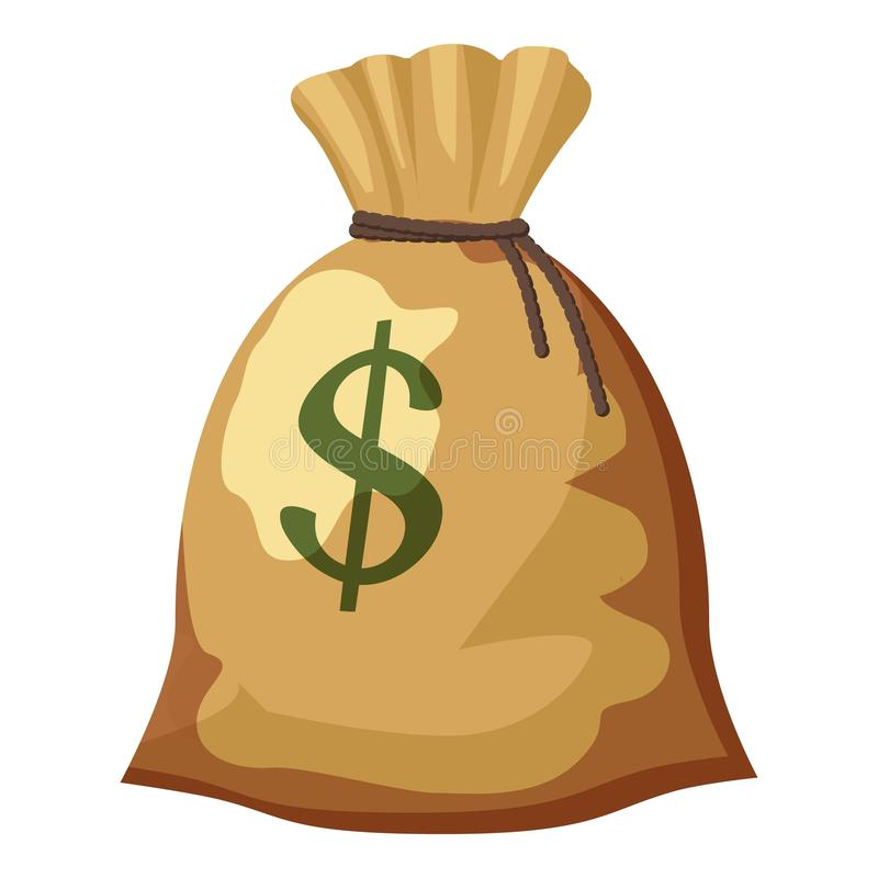 Bag With Money Sign Cartoon: Money Bag With Dollar Sign Icon, Cartoon Style Stock