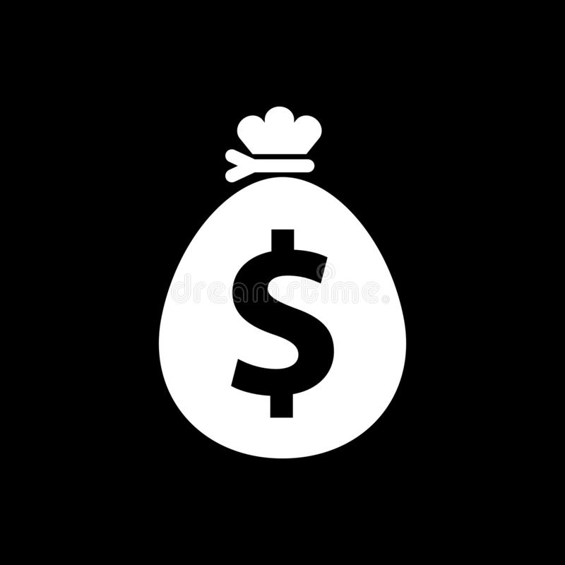 Money bag and dollar symbol for web icons and flat on black background vector illustration