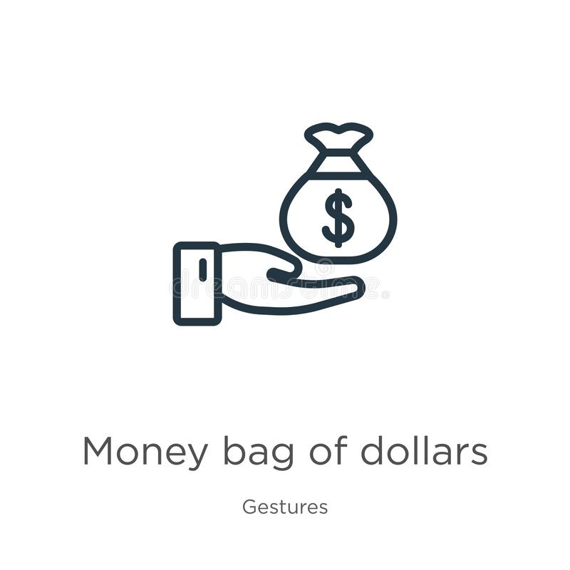 Money bag of dollars icon. Thin linear money bag of dollars outline icon isolated on white background from gestures collection. stock illustration