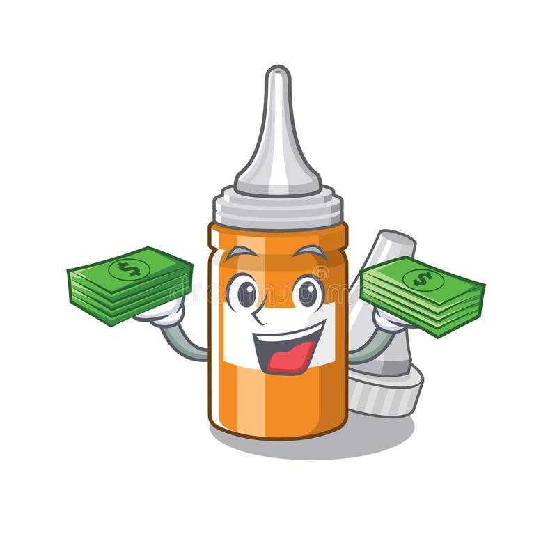 With money bag ear drops in the mascot pillbox. Vector illustration stock illustration