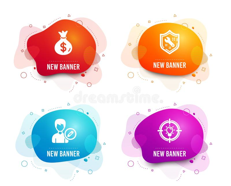 Money bag, Edit person and Spanner icons. Idea sign. Usd currency, Change user info, Repair service. Solution. Vector royalty free illustration
