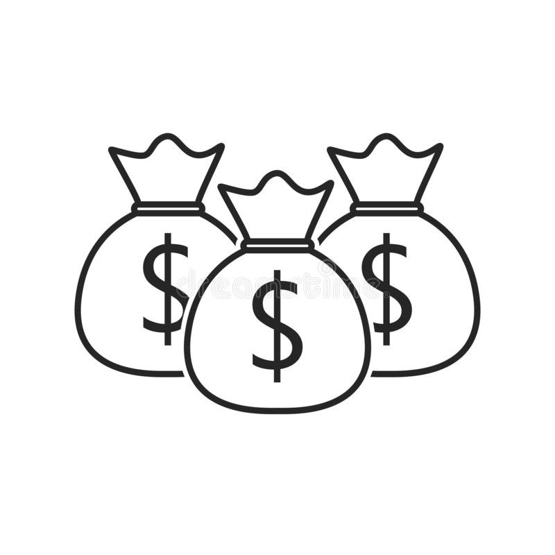 Money bag flat icon on white background, for any occasion stock illustration
