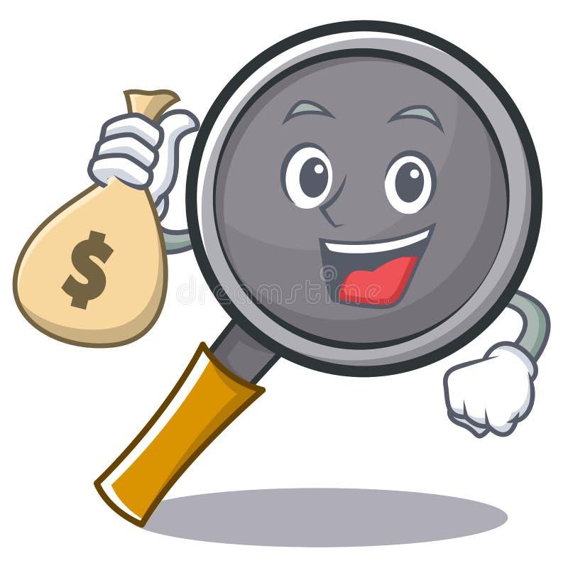 With money bag frying pan cartoon character. Vector illustration vector illustration