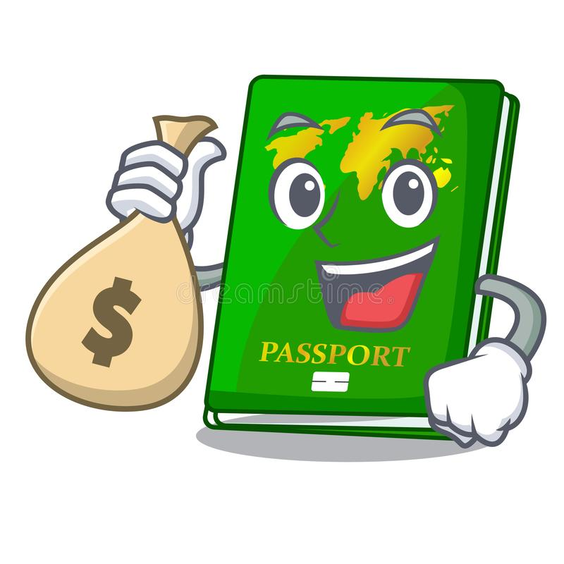 With money bag green passport in a character bag. Vector illustration royalty free illustration