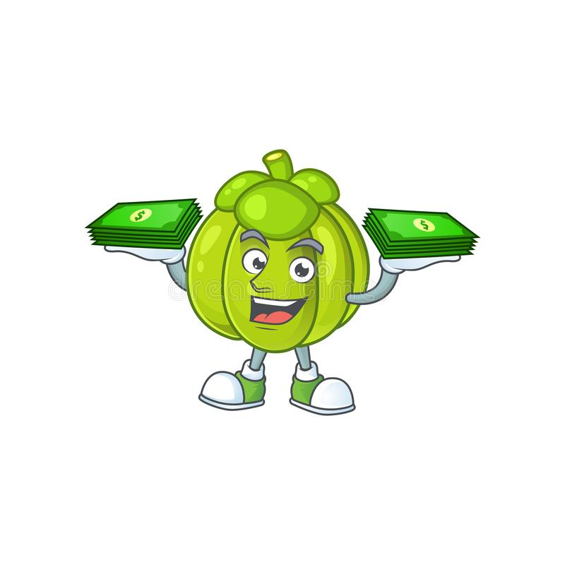 With money bag green pumpkin ripe on a white background. Vector illustration royalty free illustration