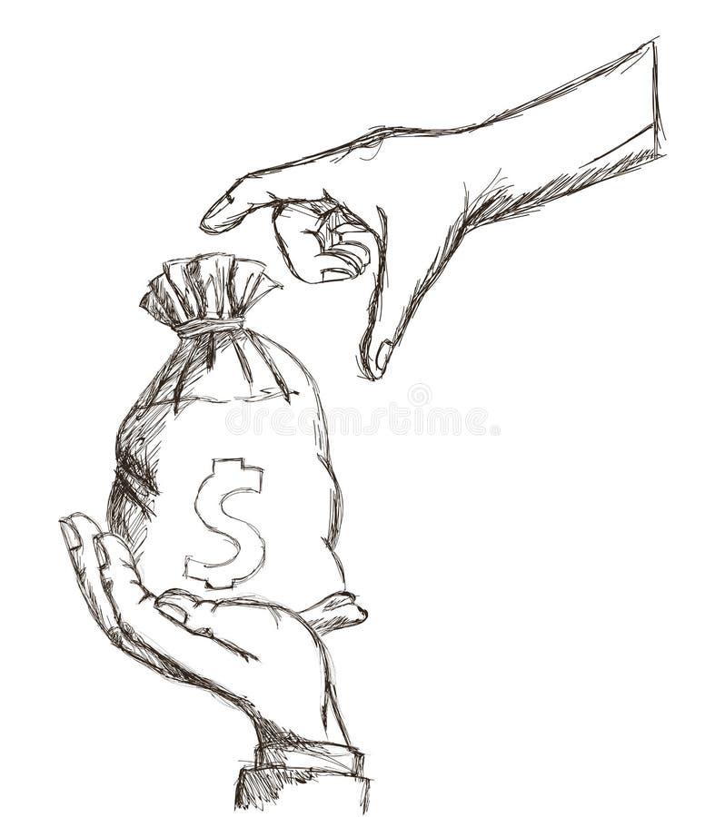 Money bag hand icon, Vector illustration stock illustration
