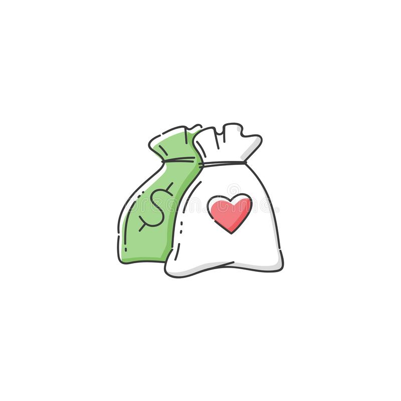 Money bag icon for charity donation center royalty free illustration