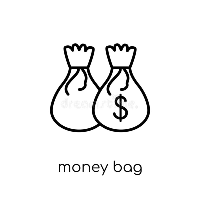 Money bag icon. Trendy modern flat linear vector Money bag icon stock illustration