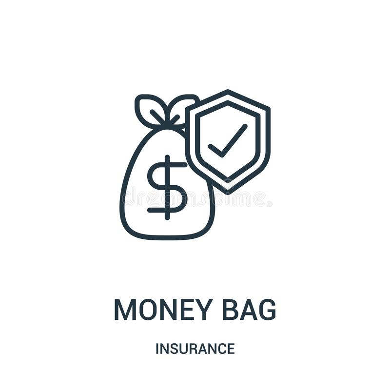 money bag icon vector from insurance collection. Thin line money bag outline icon vector illustration. Linear symbol vector illustration