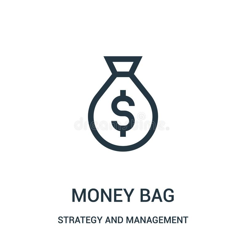 money bag icon vector from strategy and management collection. Thin line money bag outline icon vector illustration stock illustration