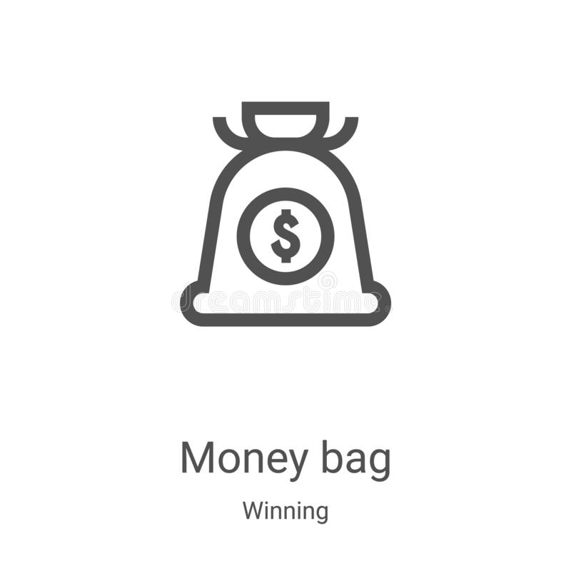Money bag icon vector from winning collection. Thin line money bag outline icon vector illustration. Linear symbol for use on web. And mobile apps, logo, print royalty free illustration