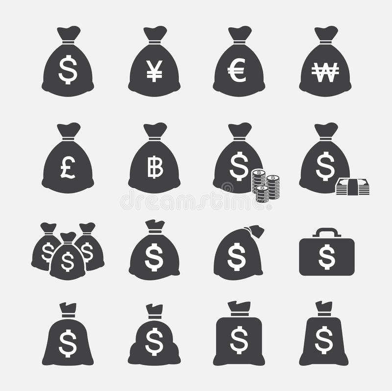 Money bag icon stock illustration