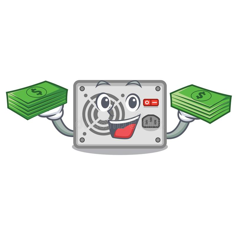 With money bag mascot power supply sticks to pc royalty free illustration