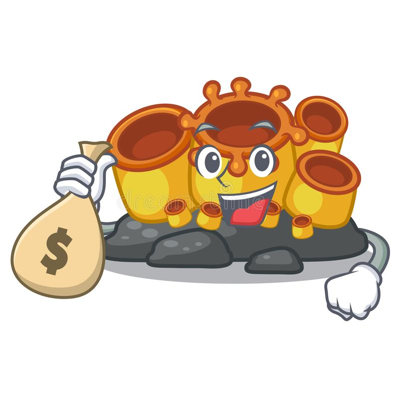 With money bag miniature orange sponge coral in character royalty free illustration