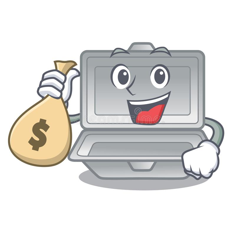 With money bag open styrofoam in the cartoon shape vector illustration