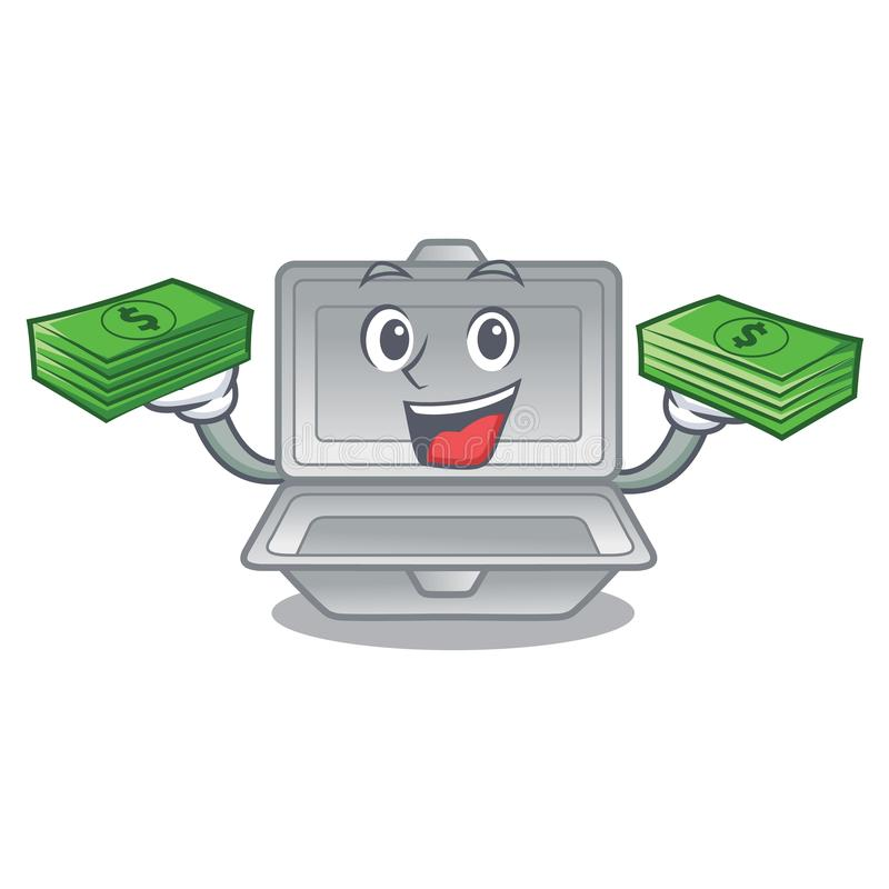 With money bag open styrofoam in the character box stock illustration