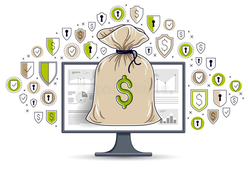 Money bag over computer monitor and shield icons set, online banking or bookkeeping data protection concept, internet electronic. Money safety, savings, vector vector illustration