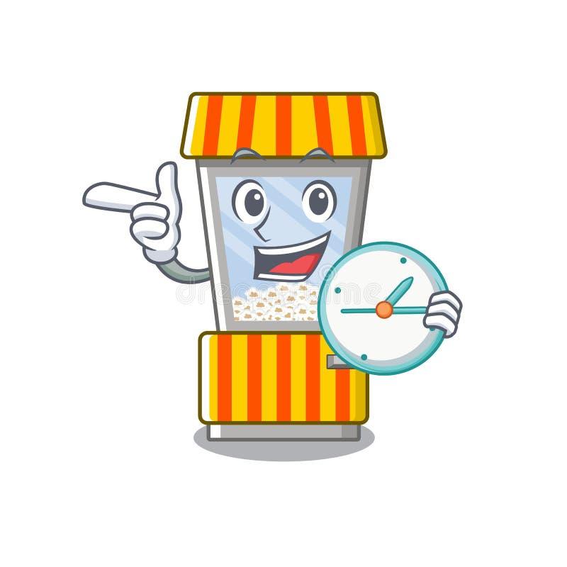 With money bag popcorn vending machine is formed cartoon. Illustration vector royalty free illustration