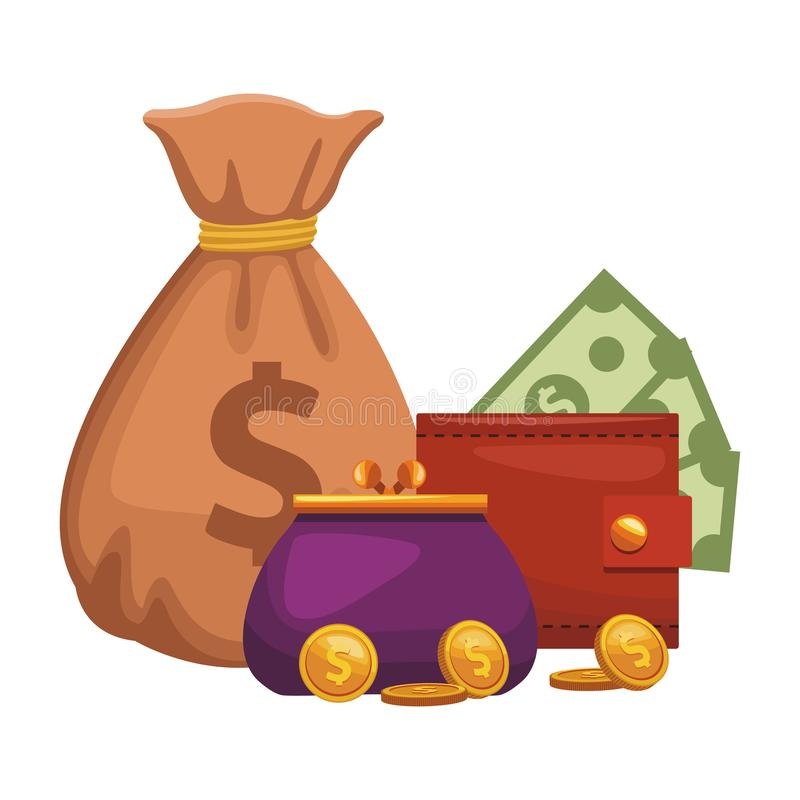 Money bag puser and wallet. Vector illustration graphic design stock illustration